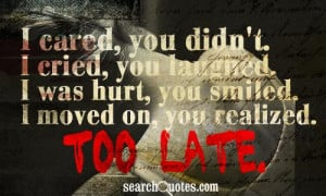cared, you didn't. I cried, you laughed. I was hurt, you smiled. I ...