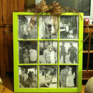 Window pane painted and black and white photos added like a picture ...
