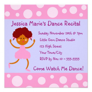 girly_pink_bubbles_dance_recital_invitation ...