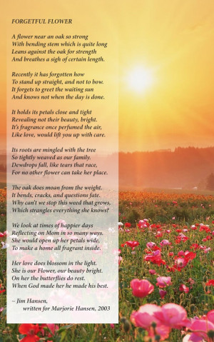 what a beautiful poem written by a son for his mom who had alzheimer s ...