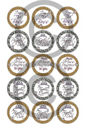 Cute & Sassy sayings and pageant bottle cap designs (4x6) 1 inch ...