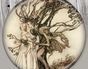 Cinderella Grimm Illustration Brothers grimm pocket mirror,
