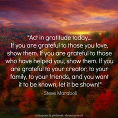Attitude Of Gratitude, Nourishing Overflow, Steve Maraboli, Gratitude ...