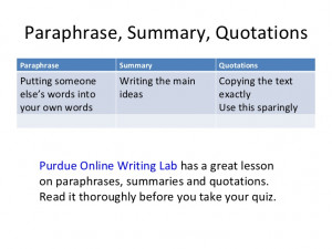 Quotes And Paraphrases Quiz ~ Paraphrase, Summary, Quotations