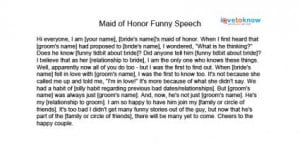 Free Maid of Honor Speeches