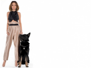 Nicole Richie posed with a German Shepherd named Iro as she was ...