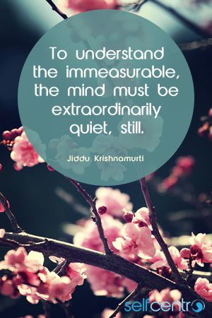 To understand the immeasurable, the mind must be extraordinarily quiet ...