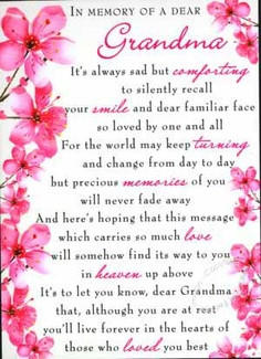 In Memory Of A Dear Grandma…