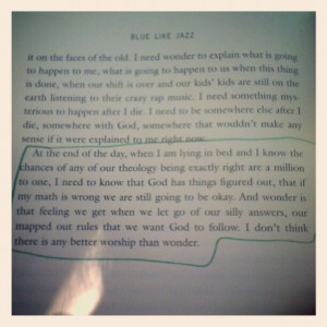 This is a paragraph from a book called, Blue Like Jazz. Go to http://a ...