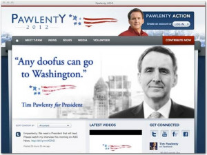 Tim Pawlenty's new campaign slogan: 'Any doofus can go to Washington'