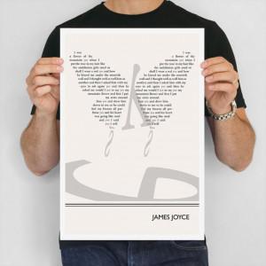 Literary Poster, James Joyce Illustration Quote Typography Art Print ...