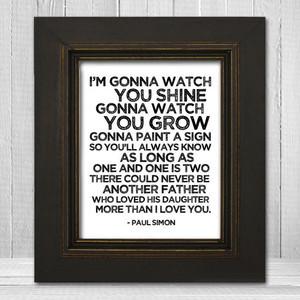 Song Lyrics Nursery Print 11x14 - Father & Daughter Nursery Print ...