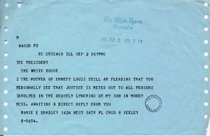 ... , Mamie Bradley, sent to President Eisenhower that pleads for action