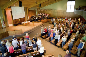 ... Presbyterian Church of the Big Wood attend a service in Ketchum, Idaho