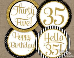 ... 35 Years Bday Party Printable - Elegant DIY 35 Birthday Favor Tags