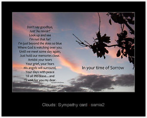 ... products tags clouds poem death grief skies condolences sympathy card