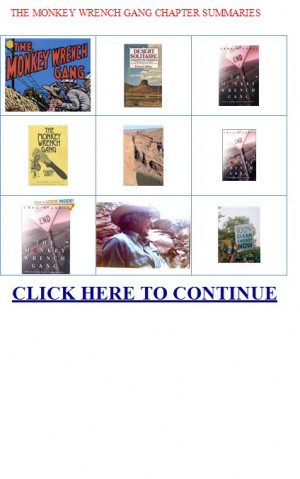 THE MONKEY WRENCH GANG CHAPTER SUMMARIES. . |THE MONKEY WRENCH GANG ...