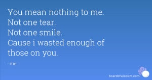 You mean nothing to me. Not one tear. Not one smile. Cause i wasted ...