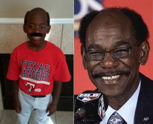 ... Texas is dressuing up as Texas Rangers manager, Ron Washinghton this