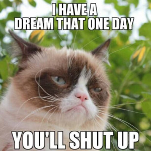 have a dream that one day you'll shut up