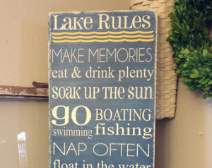 Lake Rules subway sign - 12x36 - ca n be personalized to fit your own ...