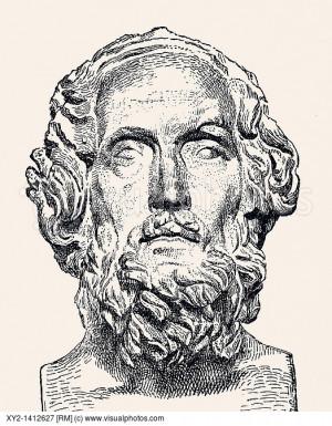 Homer ancient Greek epic poet From El Mundo Ilustrado published ...