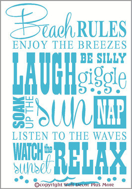 ... Sayings Beach Rules Subway Art Phrases and Quote Wall Sticker 23x15