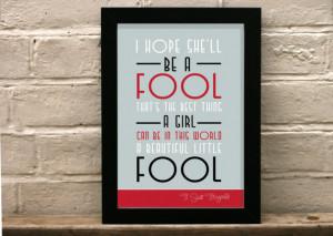 Great Gatsby Quote print - Beautiful little fool - Art deco - Art ...
