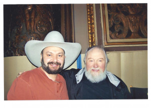 Gregory with Charlie Daniels during shooting Geico commercial