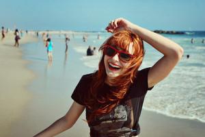 beach, girl, people, rayban, red head, sun