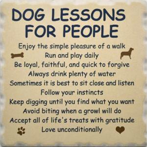 Favorite Dog Sayings Coaster Set 1752 - Dog Lessons for People Coaster