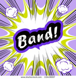 Comic book background Band! concept or conceptual cute Band text on ...
