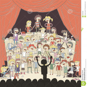 Funny school choir singing hand drawn illustration with group of ...