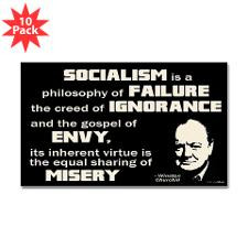 Churchill Socialism Quote Sticker (Rectangle 10 pk for