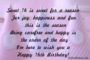 Sweet 16 Quotes and Sayings | Happy Sweet 16th Birthday Quotes Sweet ...