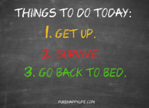 Life Quote: Things to do today: Get up, Survive, Go back to bed.