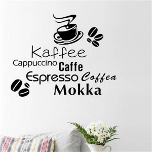 8367 1 2 All kinds coffee quote wall stickers coffee cup coffee beans