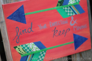 ... love seeing it paired with blue in this Fabric Arrow Canvas Quote