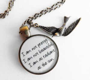 Movie Quote Resin Pendant Necklace Katniss by Metamorphosis07, $15.00