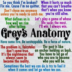 Grey's Anatomy quotes in pink, purple, blue, orange, green, red, and ...