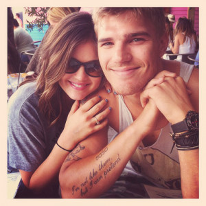 Lucy Hale chris zylka and chris' tattoo wow omg this photo is just ...