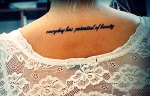 Neck Quote Tattoo Women