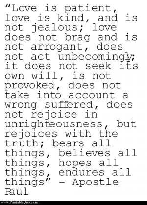 Apostle Paul on Love