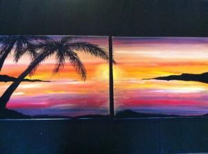 Sunset beach painting: Beach Painting