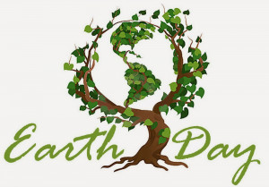Simple and Meaning Earth Day 2015 Clip Art: Earth and green tree