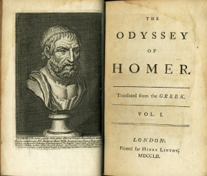 ... Pope's translation of The Odyssey, 1752. Title page. Public domain