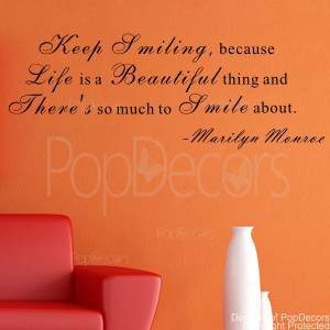 ... Wall Decal -Keep Smiling - Vinyl Words and Letters Quote Decal