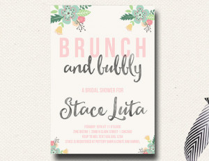 ... Brunch Bridal Shower Invitation Watercolor Brush Script Spring Summer