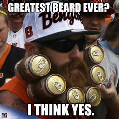 This Bengals fan deserves a medal for his beerd - http://makecoolmeme ...