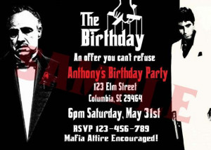 Godfather Scarface Mafia Invitation by rowzsmith on Etsy, $13.00